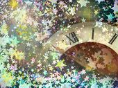 Clock Face On Multicolored Shining Stars Background.