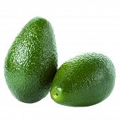 Fresh Green   Avocados Isolated On A White Background.  Ripe Beautiful Whole Avocado Macro