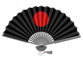 Decorative folding fan for man. Vector illustration. Isolated on white background.
