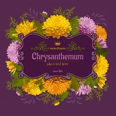 Beautiful card with chrysanthemum on violet background. Vintage design elements.