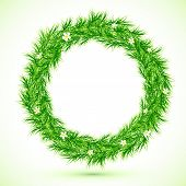 Green grass with chamomiles round frame