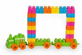 Train Of Colorful Childrens Building Bricks With Frame