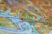 Vancouver, Canada, on a modern world map