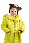 Little Girl In Adult Jacket And Hat