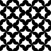 Seamless Oriental Grid Pattern. Vector Monochrome Background