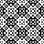 Abstract Circle and Square Pattern. Vector Seamless Black and White Background