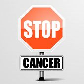 detailed illustration of a red stop cancer sign, eps10 vector