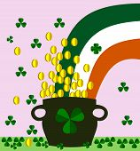 Shamrocks, pot with golden coins and irish flag - saint Patrick day