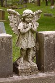 Standing Angel With Wings In Cemetery