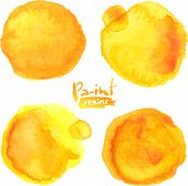 Yellow watercolor painted vector stains set