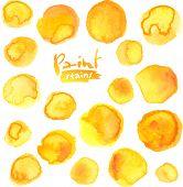 Big vector set of yellow watercolor stains