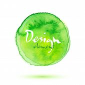 Green watercolor painted vector textured circle