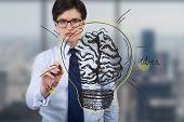Businessman Drawing Brain Bulb