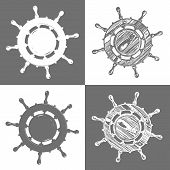ship wheel marine wooden vintage  vector illustration isolated white background