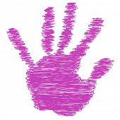 Conceptual pink painted drawing hand shape print or scribble isolated on white paper background