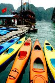Row of Kayaks waiting tourists in Halong Bay,Vietnam.