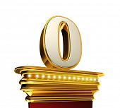 stock photo of zero  - Number Zero on a golden platform with brilliant lights over white background  - JPG
