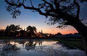 Silhouette Of Sukhothai Historical Park