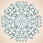 Round Natural Blue Pattern