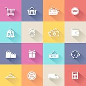 Collection of shopping icons in modern flat design style.