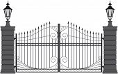 stock photo of gate  - vector illustration of a wrought iron gate - JPG