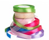 Colored Satin Ribbons In A Roll Isolated