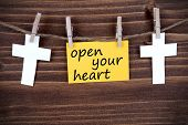 Yellow Label With Life Quote Open Your Heart