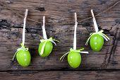 Four Green Easter Eggs