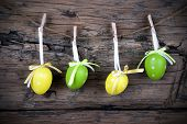 Four Green And Yellow Easter Eggs With Frame
