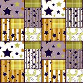 Patchwork Seamless Bright Retro Stars Pattern Background
