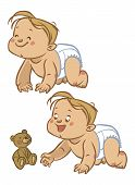Funny vector cartoon colorfull crawling baby. Vector illustration