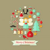 Merry Christmas Card With Flat Icons Set