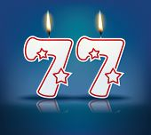 Birthday candle number 77 with flame - eps 10 vector illustration