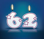 Birthday candle number 62 with flame - eps 10 vector illustration