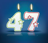 Birthday candle number 47 with flame - eps 10 vector illustration