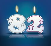 Birthday candle number 82 with flame - eps 10 vector illustration