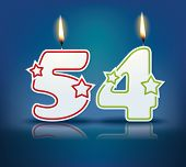 Birthday candle number 54 with flame - eps 10 vector illustration