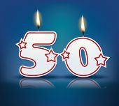 Birthday candle number 50 with flame - eps 10 vector illustration