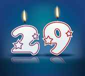 Birthday candle number 29 with flame - eps 10 vector illustration