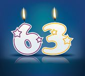 Birthday candle number 63 with flame - eps 10 vector illustration