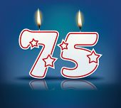 Birthday candle number 75 with flame - eps 10 vector illustration