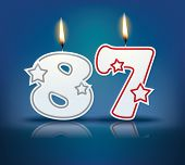 Birthday candle number 87 with flame - eps 10 vector illustration