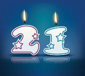 Birthday candle number 21 with flame - eps 10 vector illustration