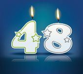 Birthday candle number 48 with flame - eps 10 vector illustration