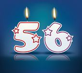 Birthday candle number 56 with flame - eps 10 vector illustration