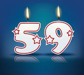 Birthday candle number 59 with flame - eps 10 vector illustration