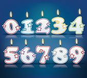 Birthday candle numbers with flame - eps 10 vector illustration