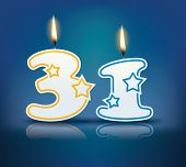 Birthday candle number 31 with flame - eps 10 vector illustration