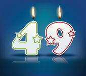 Birthday candle number 49 with flame - eps 10 vector illustration