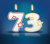 Birthday candle number 73 with flame - eps 10 vector illustration